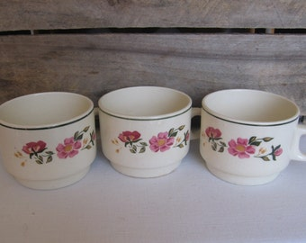 Lozapenco Stackable Coffee Cups or Mugs Set of THREE Vintage Coffee Mugs Made in Chile Cups Mugs MyVintageTable
