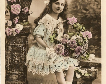 Antique French Postcard Beautiful Young Girl in Blue Lace Dress with Many Flowers Tinted Photo Post Card RPPC from Vintage Paper Attic