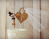 Weddings cake toppers rustic wood heart Mr and Mrs key to my heart sign skeleton key vintage inspired bride groom unique lock and key decor