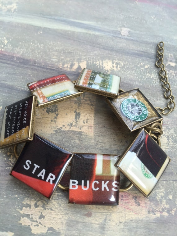 Resin Jewelry, Starbucks bracelet, Upcycled, Repurposed, Recycled gift card