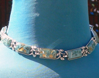 coro teal lucite with confetti necklace