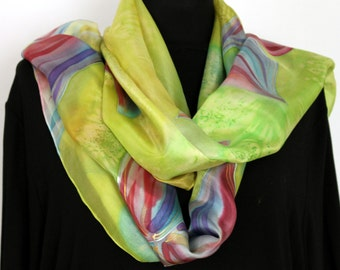 Hand Painted Long Silk Scarf, Lilium Flower Coral, Violet, Lime Green,