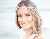 "Wedding Hair Accessory, Beaded Headband, Bridal Headband, Crystal Halo, Boho Bridal Crown ""Sunset"""