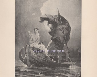 Psyche-Hades-Underworld-River Styx-Box-Persephone-1891 Antique Vintage Old TYPOGRAVURE Art Print-Gothic Picture-Death-Charon-Ferry Boat-Dead