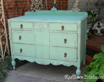 BATHROOM VANITY Painted Antique Dresser Converted Into Gorgeous Bath Vanity Cabinet For You 100 Percent Custom
