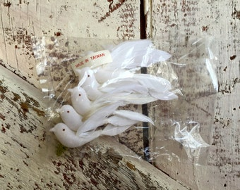 Tiny Flocked White birds  with feathers on wire vintage new old stock