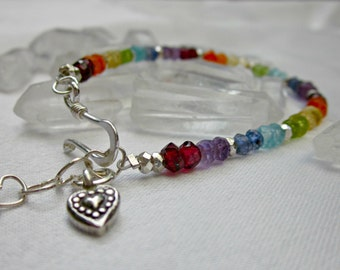 sparkly faceted gemstone chakra fine silver bracelet