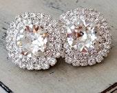 Clear crystal earrings,Silver bridal earrings,Large stud earrings,silver bridesmaid gift,silver wedding,Swarovski earrings,halo,silver gold