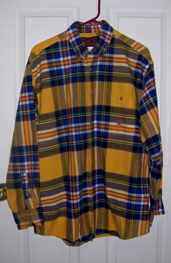 vintage men 39 s yellow plaid flannel shirt by twenty by