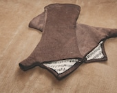Brown Corduroy Musical Notes Fabric Fingerless Arm/Hand Warmers // Size Small