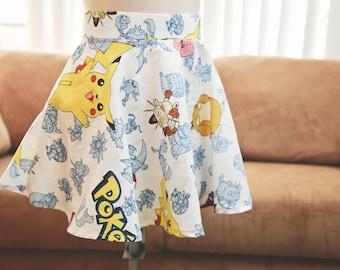 Pokemon Skater Skirt | Nintendo Pokemon Pikachu Skater Skirt | Women's Custom Pokemon Skater Skirt | Made to Order Pokemon Skater Skirt