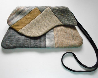 Small Quilted Handbag Purse Upcycled Men's Suit Wool Hand Dyed Cotton Brown Gray