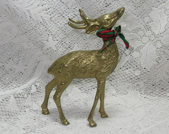 Vintge Detailed Brass Buck Deer with Bow