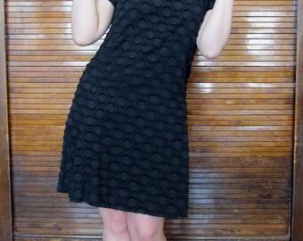 Vintage 1960s Textured Cotton Polka Dot Mini Dress