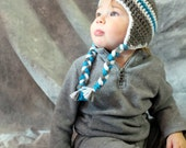 6-12 Months Crocheted Photo Prop Blue, Grey, and White Boy Hat 16 in. - IN STOCK