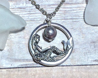 Silver Mermaid Necklace Women's Gift Silver Pearl Bridesmaid Jewelr Mom Friend Sister