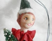 OOAK spun cotton Christmas elf Ornament vintage craft by jejeMae