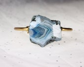 Blue Geode Druzy Brass Cuff Arm Candy