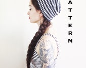 PDF PATTERN - The Lydia Beanie - Striped Beanie Slouchy Hat Slouch Crochet Mod Boho Chic Womens Hipster