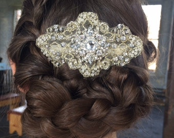 BRIDAL HAIR COMB / Rhinestone hair piece / Vintage inspired