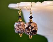 Snail Fossil EarringsvBrown Turritella Agate Earrings Organic Natural Earth Jewelry brown gold square bead earrings Elimia Agate