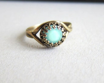 Mint Ring Exotic Boho Ring Blue Mint Green Ring Pale Light Aqua Turquoise Teal Arabian Princess Indie Chic Ring