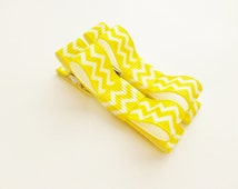 bright yellow chevron hair bows tuxedo style clips for infant baby toddler girls--small barrettes-easter accessories