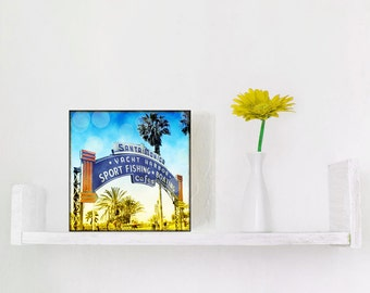 Santa Monica Sign Photography, Santa Monica Wall Art, California Art, Retro Photography, Wood Block Photo, Surfer Art Gift For Men