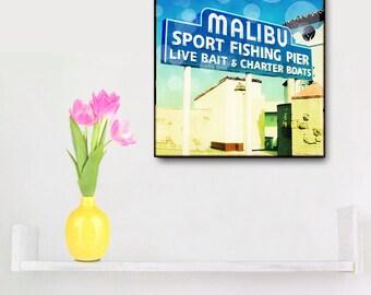 Malibu Beach Photography, Retro Beach Wall Art, Malibu Pier, California Art, Wood Block, Surfer Wall Art, Beach Decor, Surf Art