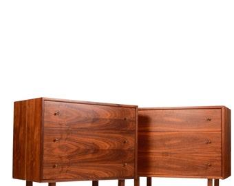 Matching Mid Century Modern 3 Drawer Danish Cabinets