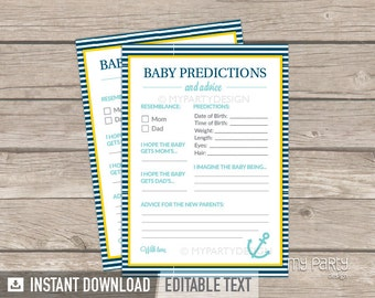 Baby Predictions and Advice card - Nautical Baby Shower game - Yellow Turquoise Blue - INSTANT DOWNLOAD - Printable PDF with Editable Text