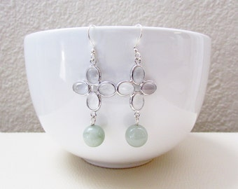 Mint Bead and Silver Faceted Earrings