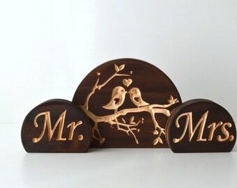 Love Bird with Mr & Mrs Burned Wood Wedding Cake Topper Set