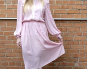 Pale Pink Dress With Sequin Details Size 4 / 6 Small Medium - Mad Men Dress Housewife Dress