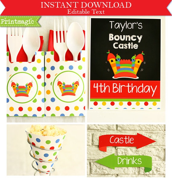 bouncy castle birthday party invitations amp by printmagic