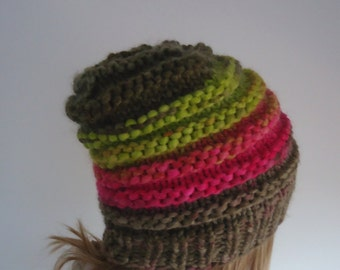 Made to order -Hand knitted hat, beanie, very warm winter hat, multicolor hat, knitted beanie, handmade hat, winter fun hat, perfect present