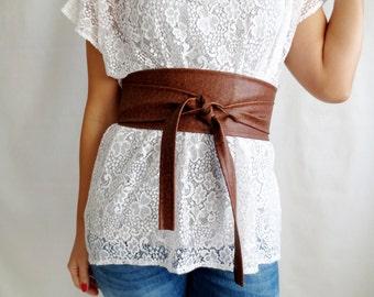 Obi belt, Brown vegan leather obi belt, faux leather belt, sash belt, brown obi belt, womens clothing, boho belt