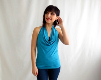 Halter top, Jersey tank top, yoga clothes, jersey halter top, sleeveless top, turquoise top, plus size, halter tops, jersey tank