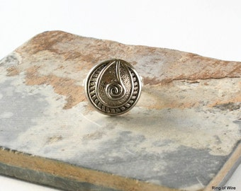 Silver Button Ring, Button Jewelry, Metal Button Ring, Silver Ring, Wire Wrapped Ring, Statement Ring, Silver Wire Ring, Custom Size Ring