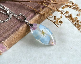 Blue Hydrangea and Pink Lantana Pressed Flower Resin Pendant