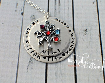 Family Tree Tree of Life Hand Stamped Necklace - Custom Tree of Life Necklace - Birthstone Tree of Life - Tree Necklace Mother's Day Gift