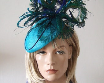 """Turquoise, Blues and Green Peacock & Pheasant Feathered Beret Headpiece Hat - """"Marissa"""" FG2711 - Spring Racing Derby Hat Mother of the Bride"""