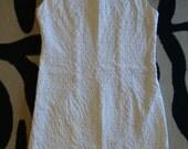 WHITE PIQUE SHEATH dress vintage 1960's summer sleeveless xs