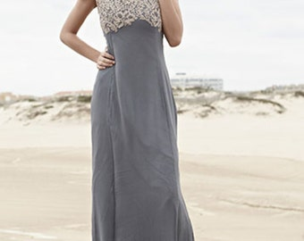 blue maxidress with lace and a train - size XS, S, M, L, XL - chic dress hippie bridesmaid wedding