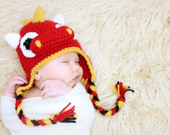 Dragon Earflap Hat CROCHET PATTERN instant download or dinosaur