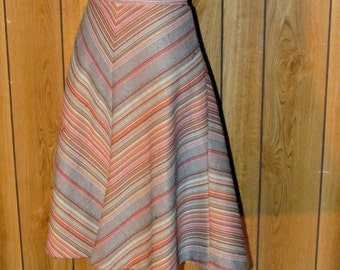 On Sale-Vintage CHEVRON STRIPED Skirt