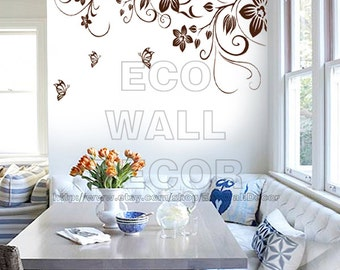 PEEL and STICK Removable Vinyl Wall Sticker Mural Decal Art - Brown Romantic Vine Frame and Butterflies
