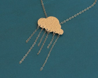 Gold Rain Cloud Necklace , Rain Drops Necklace , Wintry Jewelry