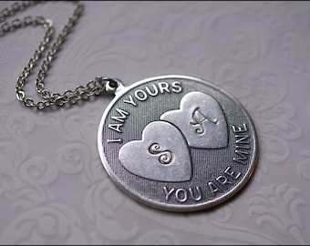 Personalized Couple Necklace-Couple Necklace- I am YOURS You are MINE Silver Personalized Jewlery PERFECT Gift Boyfriend Girlfriend Necklace