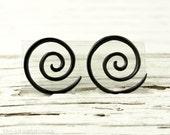 """Black Horn Earrings Double Spiral Gauges  16g 14g 12g 10g 8g 6g 4g 2g 0g 00g 1/2""""  Expanders - GA003 H G1"""